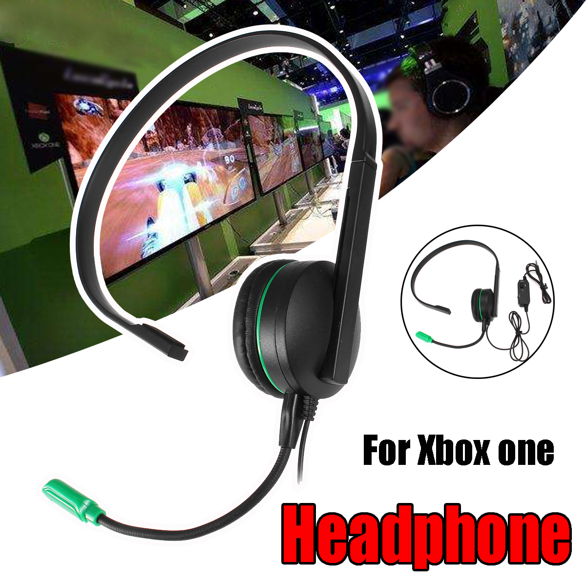 Wired Chat Gaming One Side Headset Headphone with Microphone For PS4 Xbox ONE