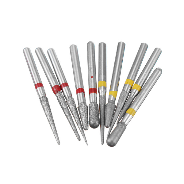 10pcs 1.6mm Diamond Burs Polishing Grinding Heads for High Speed Handpieces