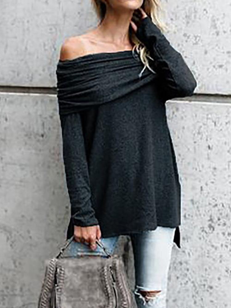 Sexy Women Solid Color Off Shoulder Long Sleeve Blouse
