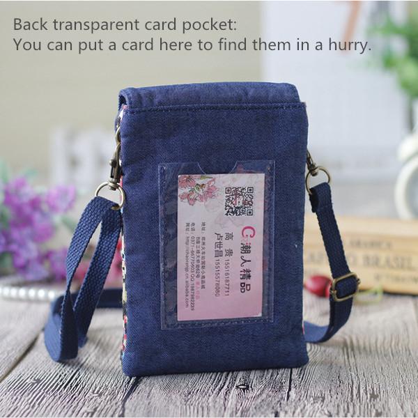 Women Denim Three Interlayers Flower Printing Mini Shoulder Bags Lace Crossbody Bags 6.0'' Phone Bag