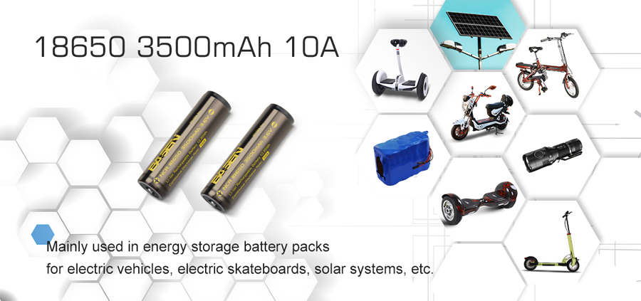 2Pcs Basen BS186A 3500mAh 10A Protected Button Top Rechargeable 18650 Battery With Storage Pack