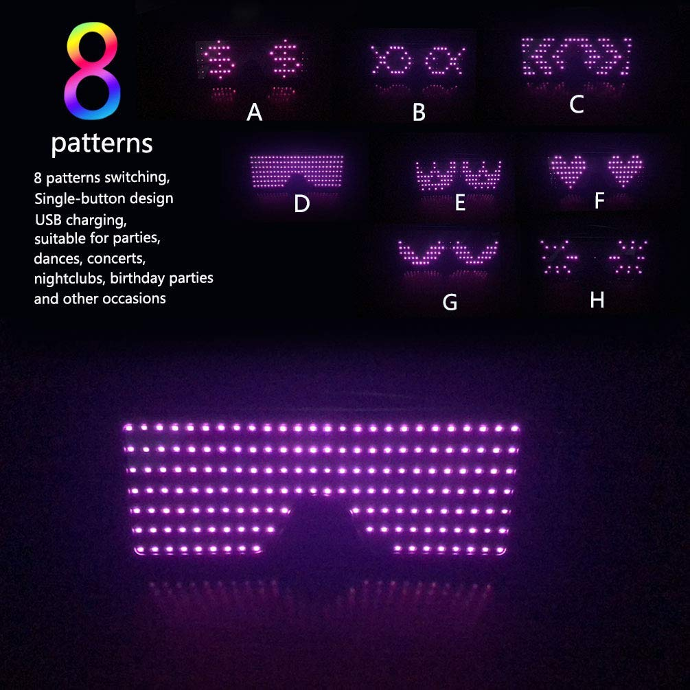 LUSTREON USB Chargeable LED Party Light Up Glasses with 8 Patterns for Nightclub Christmas Wearing