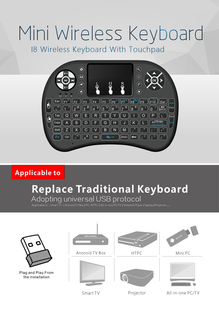 MINI I8 Wireless Backlit 2.4GHz Touchpad Keyboard Air Mouse For TV Box MINI PC