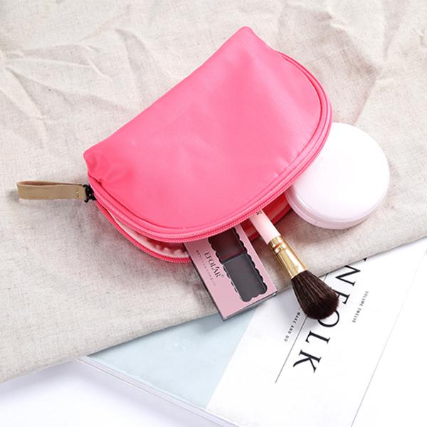 Fan Shaped Waterproof Portable Makeup Bag Nylon Mini Comestic Storage Travel Toiletry Organizer
