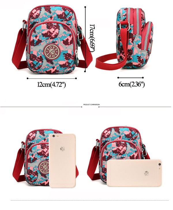 Women Lady Nylon Water Resistant Crossbody Shoulder Bag Cell Phone Bag Purse Fit iphone 7/Plus