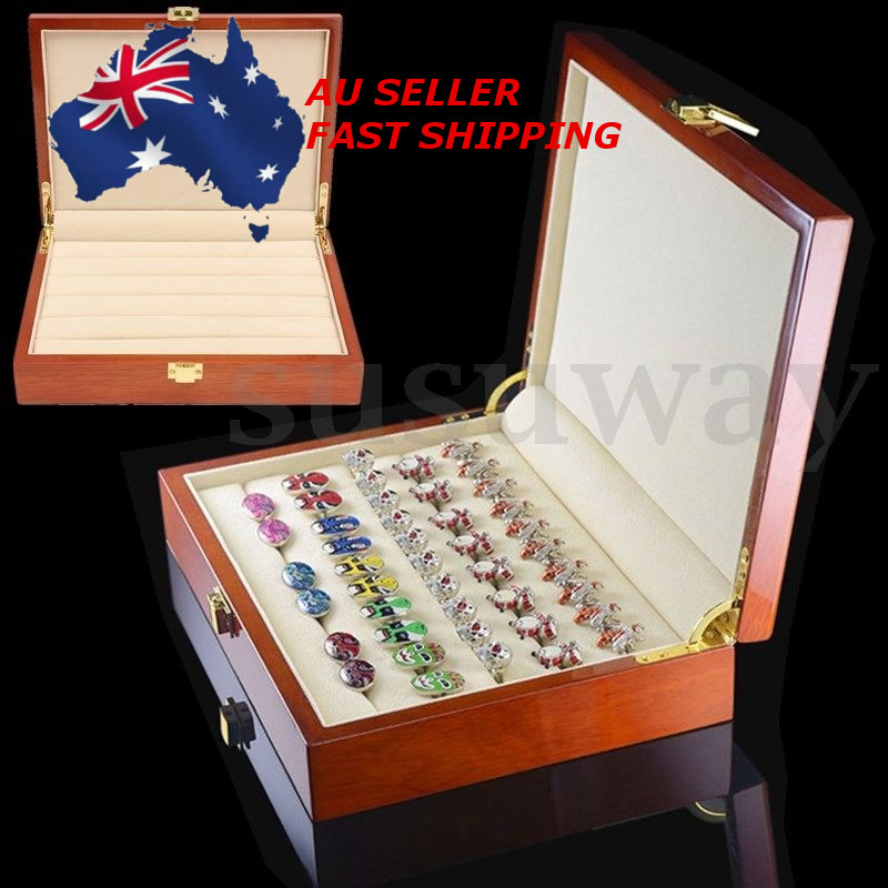 Vintage Large Wooden Ring Earring Jewelry Display Box Case Storage Organizer 24X18X5.5cm
