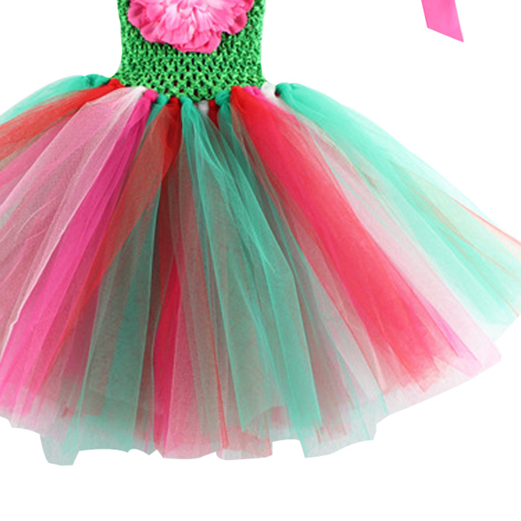 Sweet Girls Kids Party Rainbow Chiffon Tutu Dress Newborn Baby Toddler Infants