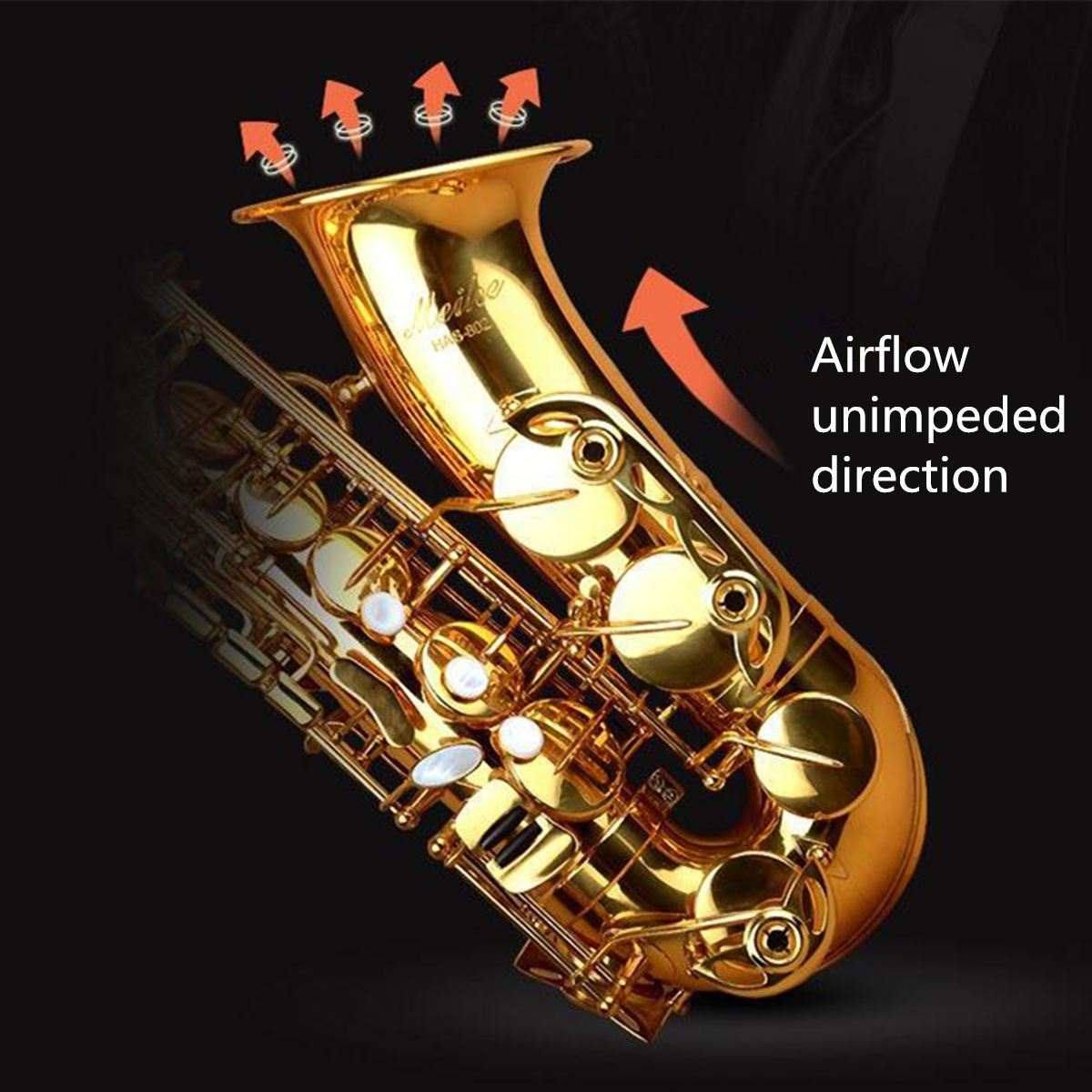 E Flat Brass Lacquer Gold Alto Saxophone Sax With Box for Beginner