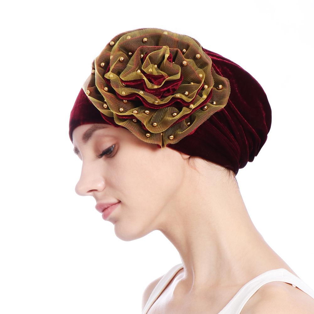 Women Summer African Velvet Flower Turban Hat