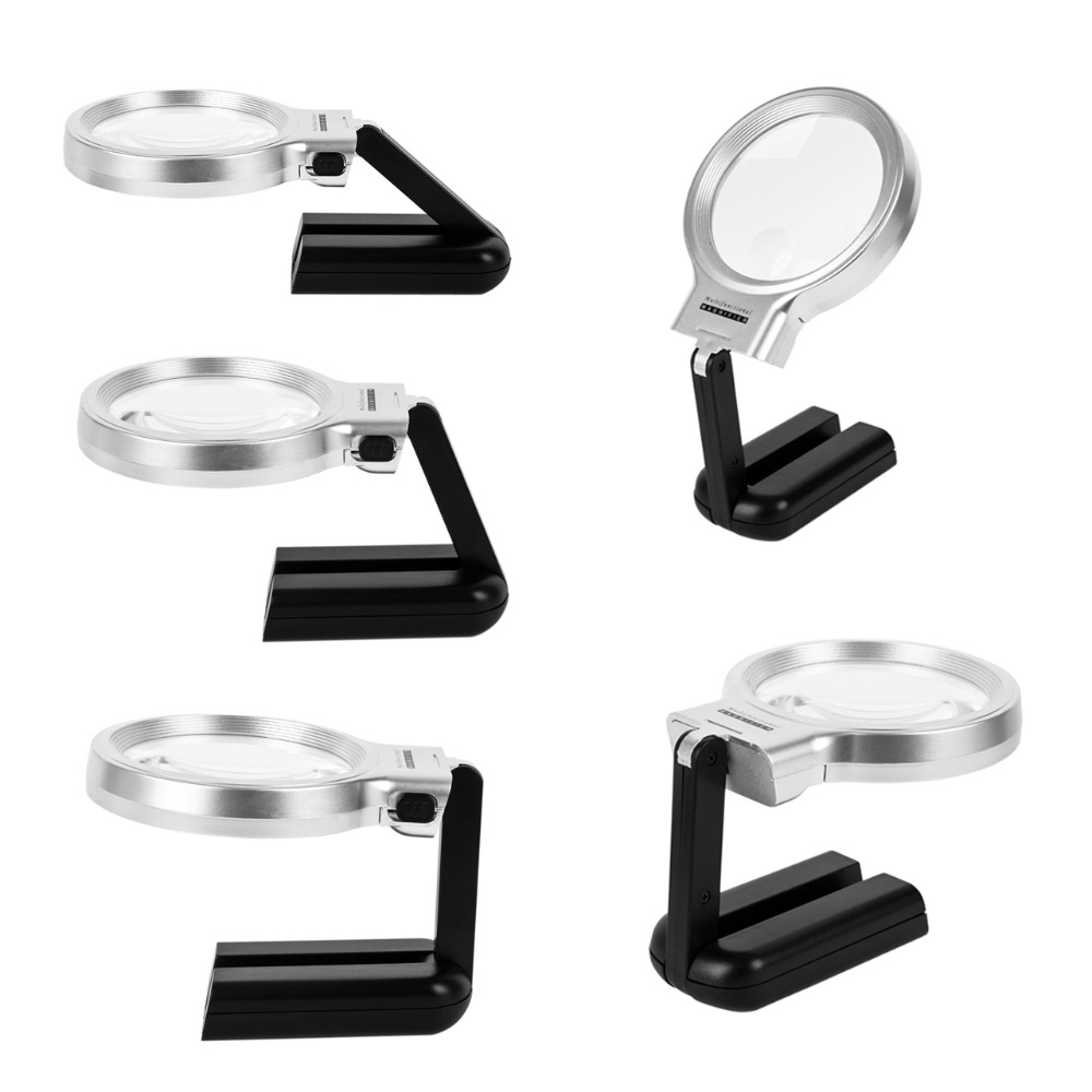 Portable Folding 10LEDs Magnifying Glass Night Table Light with Stand