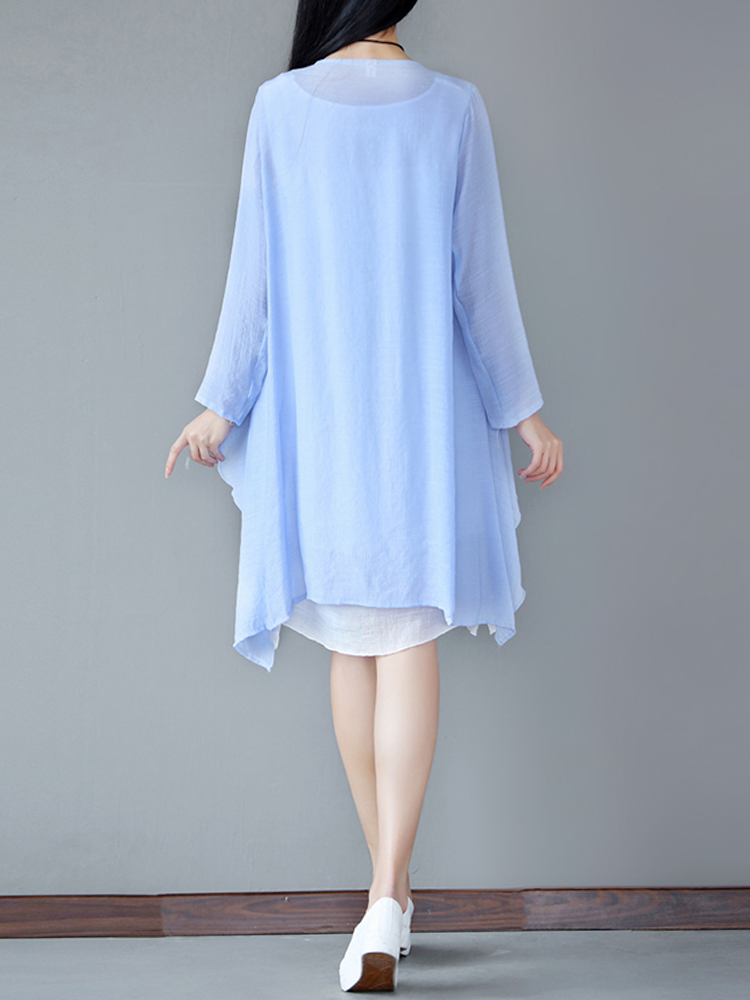 Solid Two Pieces Irregular Hem Dress
