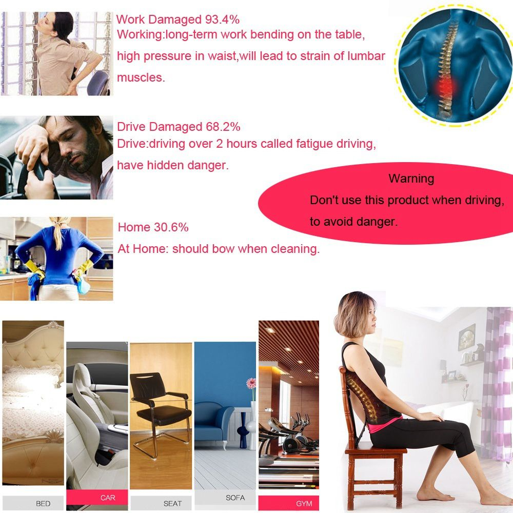 Back Spine Supports Lumbar Massaging Support