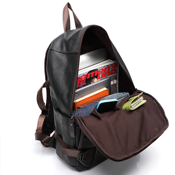Men Retro PU Leather Backpack School College Bookbag Laptop Bag