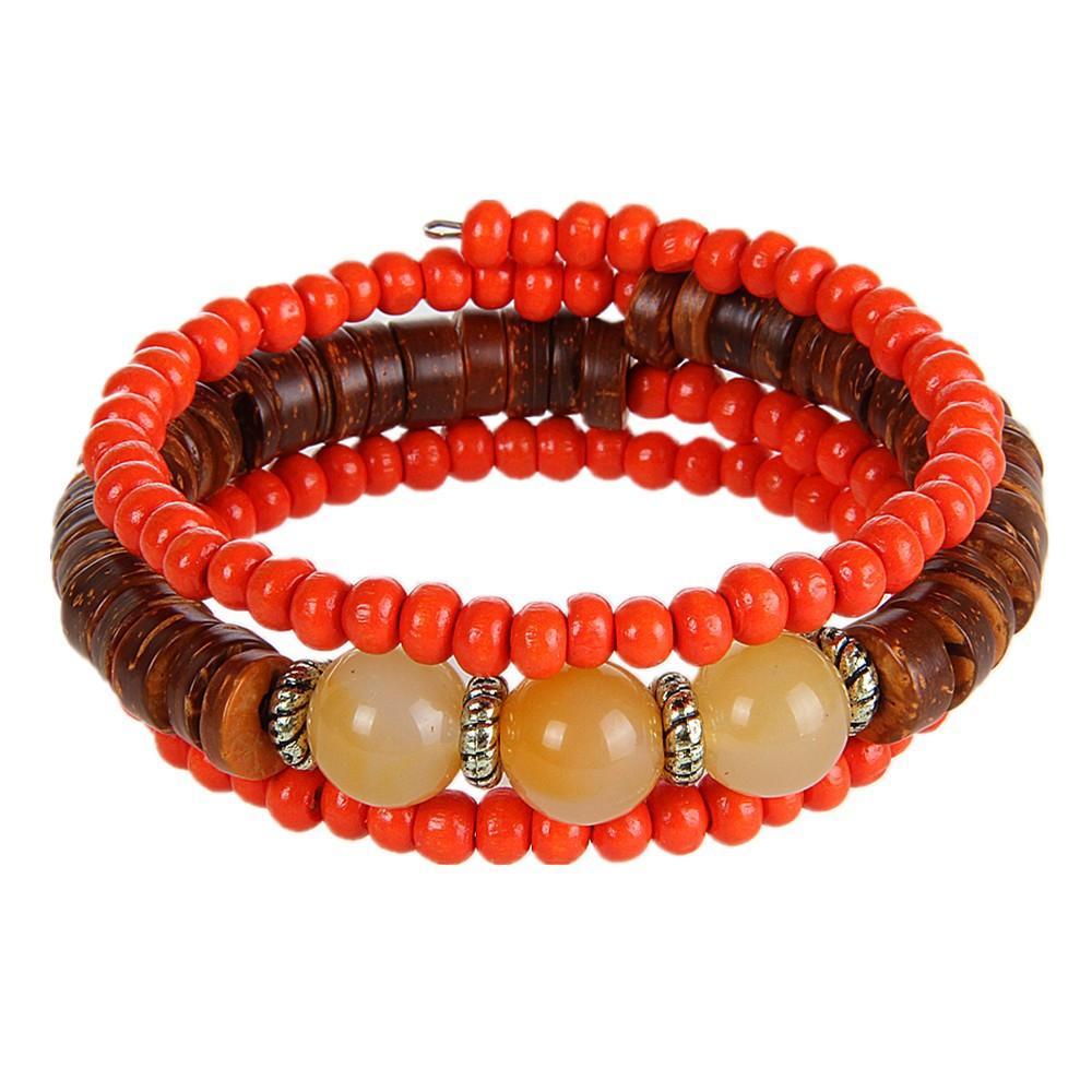 Bohemia Multilayer Wood Resin Tibetan Buddhist Bead Bracelet