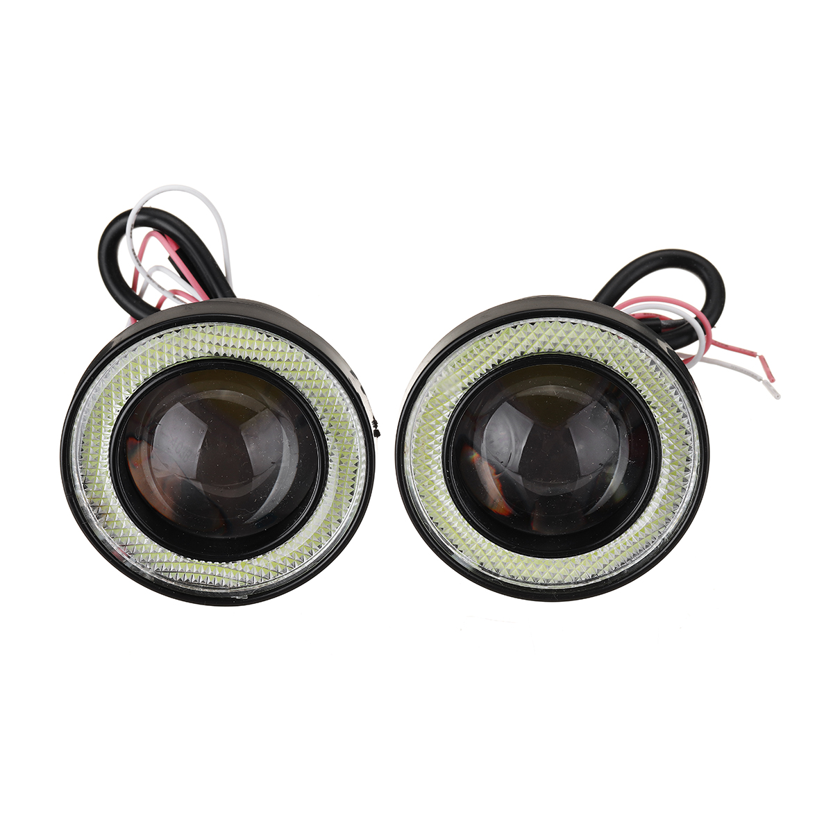 Pair 2.5Inch Car LED Fog Lights with COB Angel Eye Halo Ring DRL Projector Lens Driving Light Kit