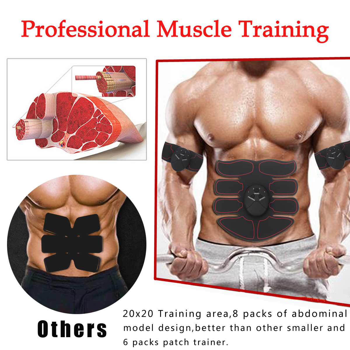 Mohoo Stimulator Abdomen Arm Muscle EMS Training Electrical Body Shape Trainer Abs