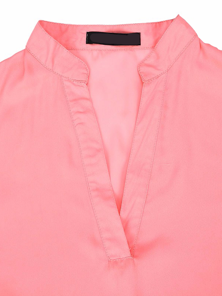Casual Women Pure Color Adjustable Sleeve V-Neck Blouse