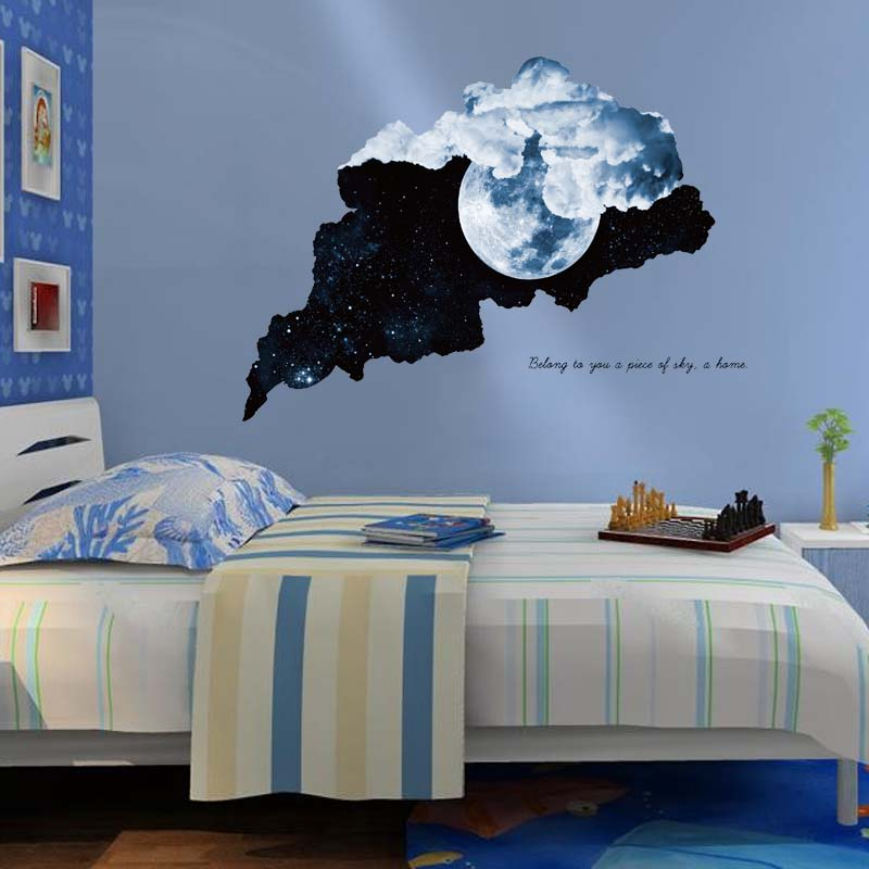 Miico Creative 3D Moon Night Star SkyTear Pattern PVC Removable Home Room Decorative Wall Door Decor Sticker