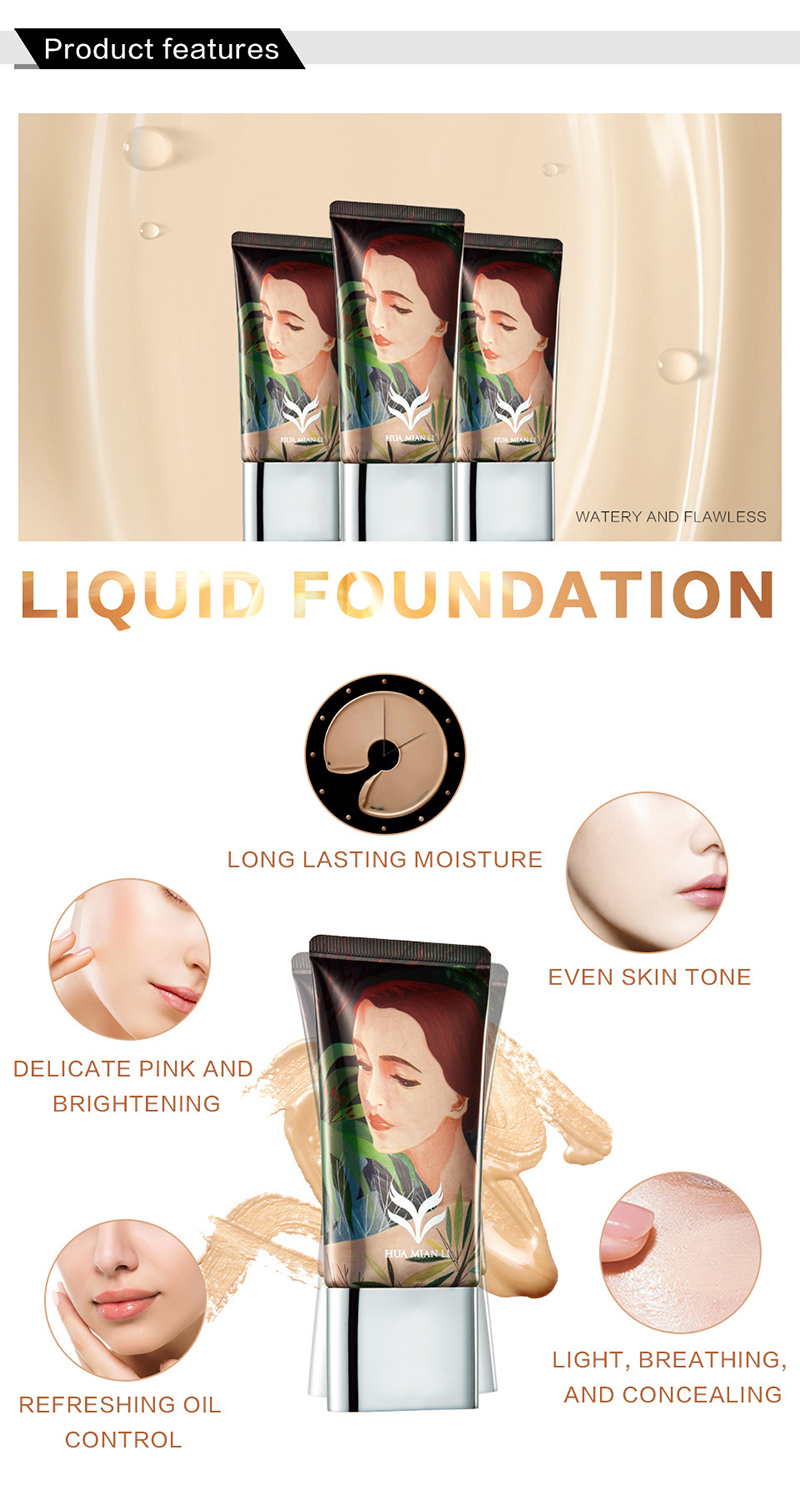 HUAMIANLI Face Foundation Makeup Base Liquid Concealer Moisturizer Oil Control