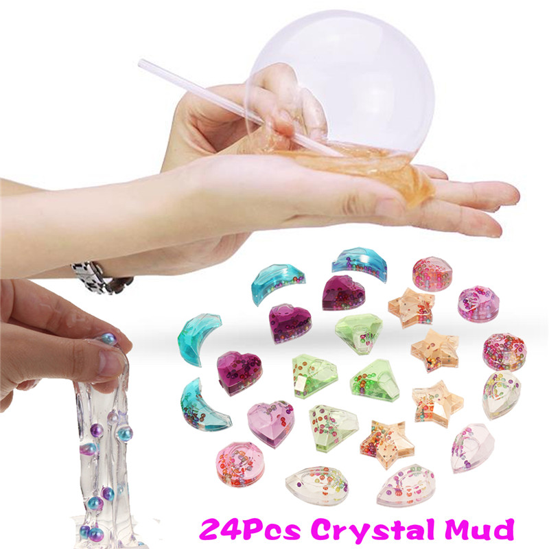 24Pcs Clear Pearl Crystal Mud Slime Plasticine Jelly Clay DIY Relief Stress Toys