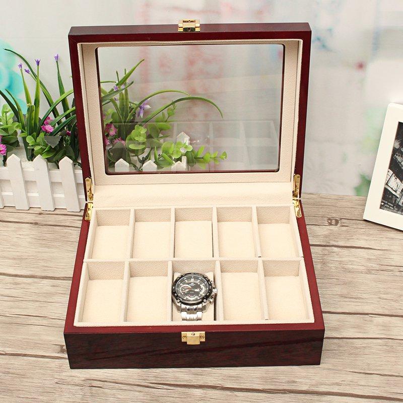 10 Slot Jewelry Wooden Wrist Watch Box Storage Case Display Vintage Organizer