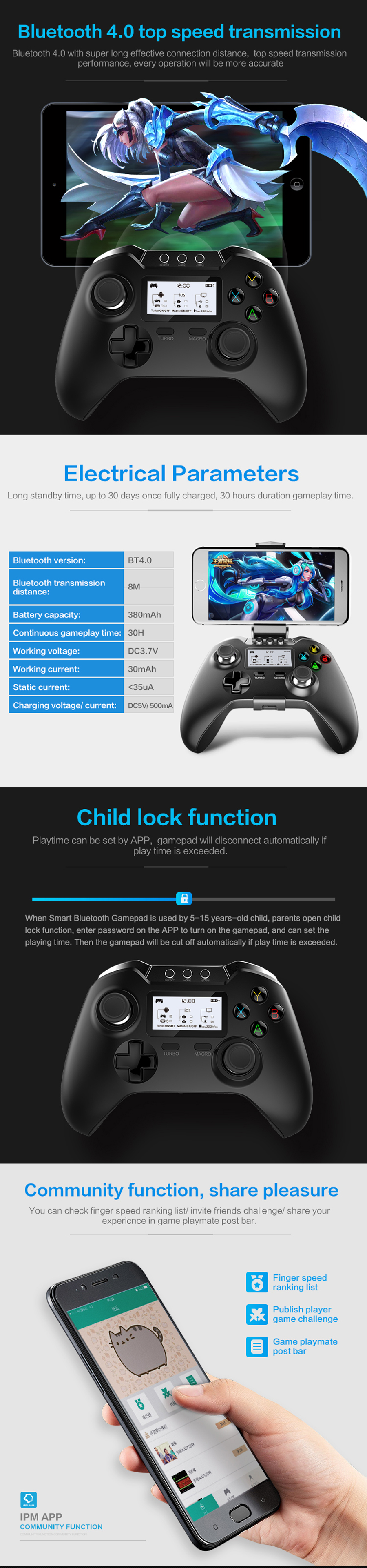 iPega PG-9063 bluetooth Gamepad Smart Game Controller with LCD Display Holder for Android iOS Tablet