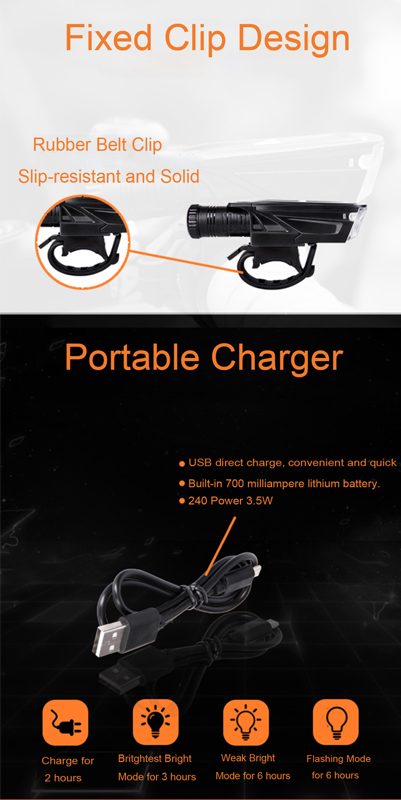 XANES XL15 450LM 3W Lamp Bead Waterproof 4 Modes 700mAh Battery USB Charging Bike Front Light