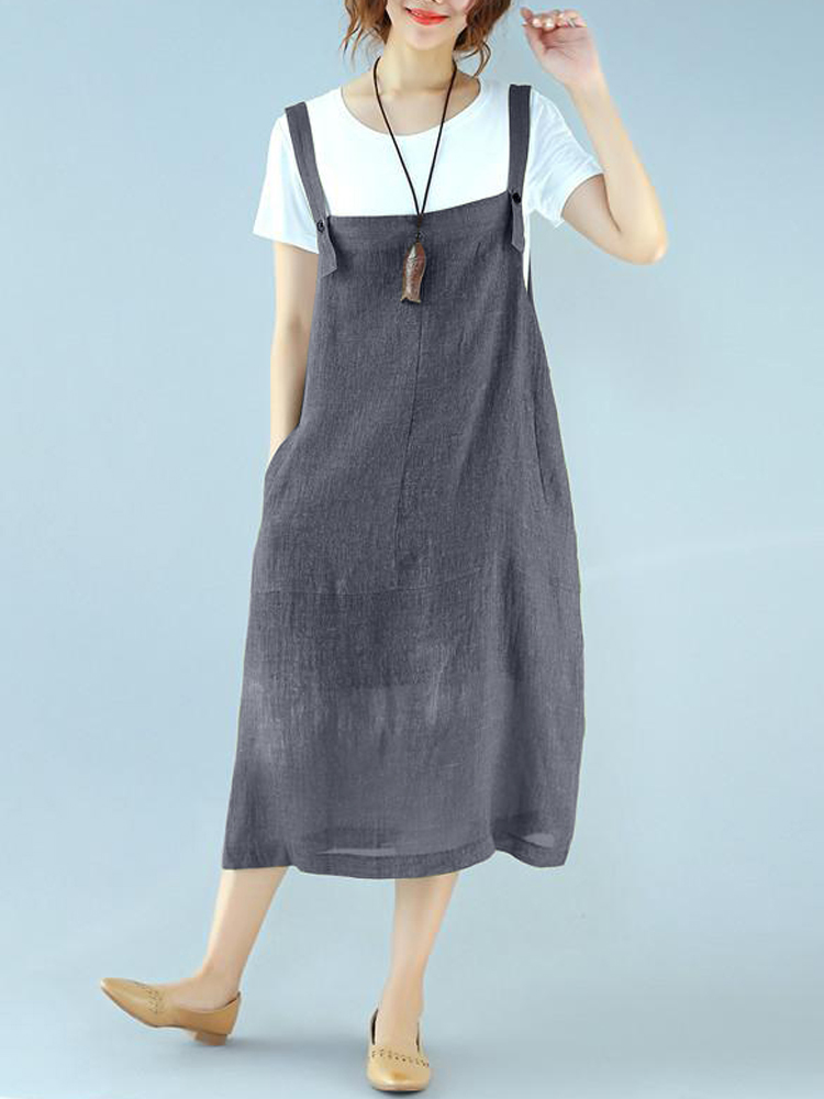 Women Sleeveless Strappy Pockets Mid-long Dress