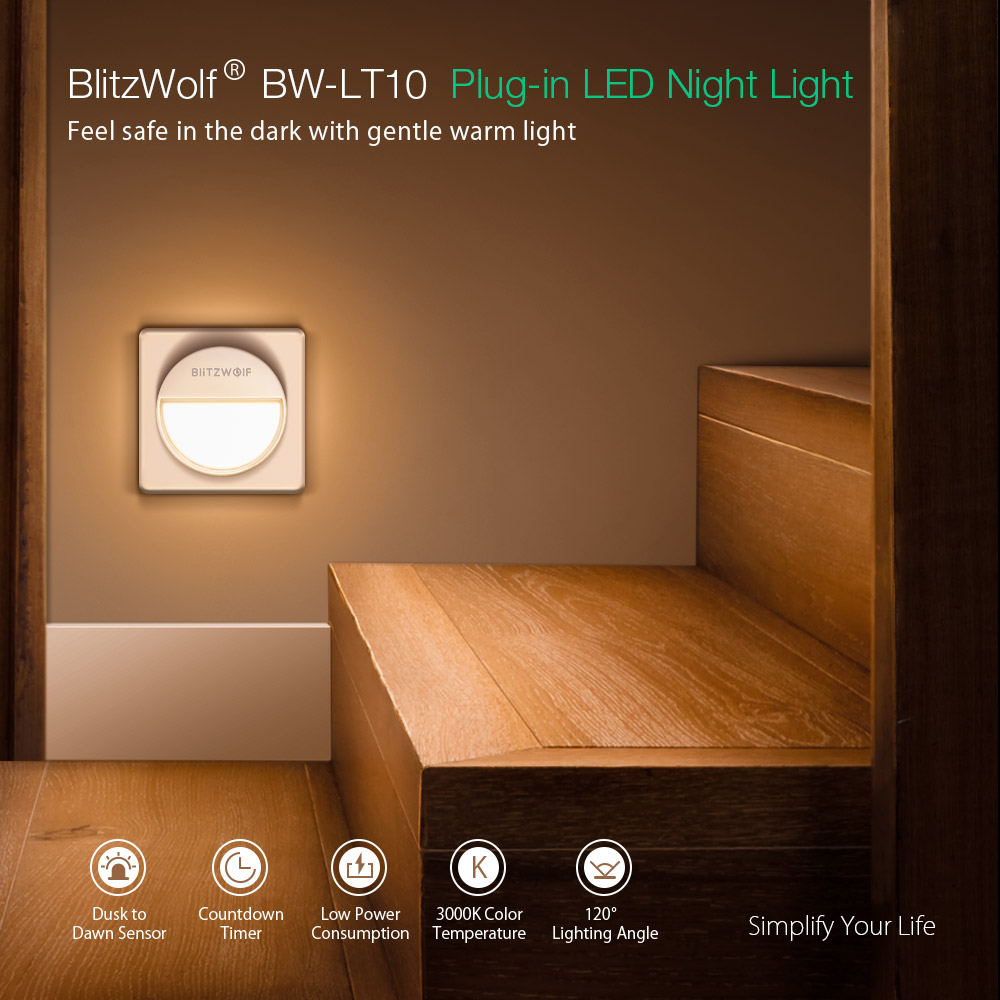 BlitzWolf® BW-LT10 Smart Light Sensor Night Light 3000K Color Temperature 20 Lumens 120° Lighting Angle Mini Night Lamp