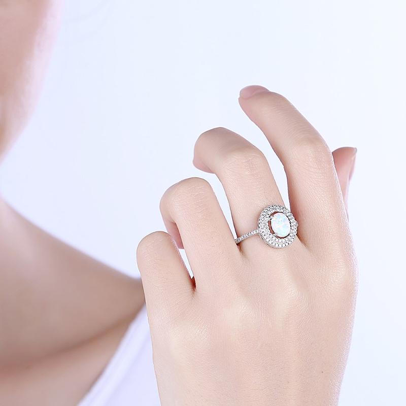 INALIS Opal Stone Platinum Plated Women Rings Zircon