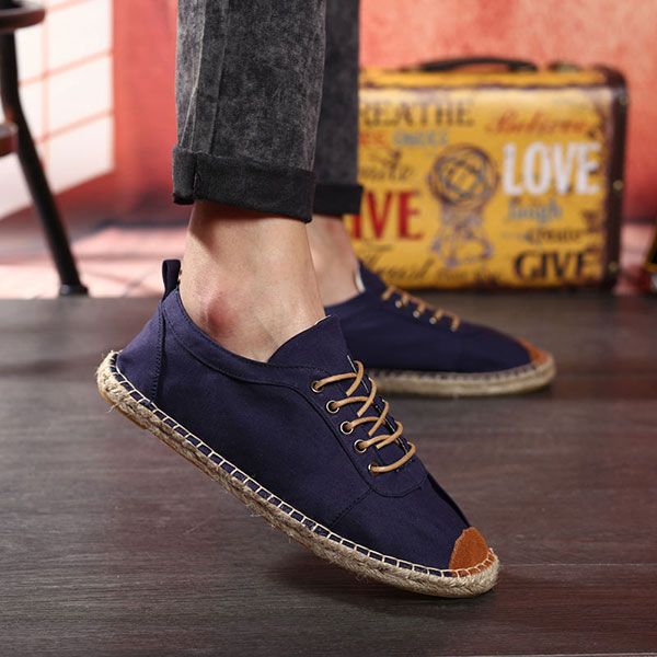 Men Hand Stitching Canvas Lace Up Espadrille Casual Athletic Shoes
