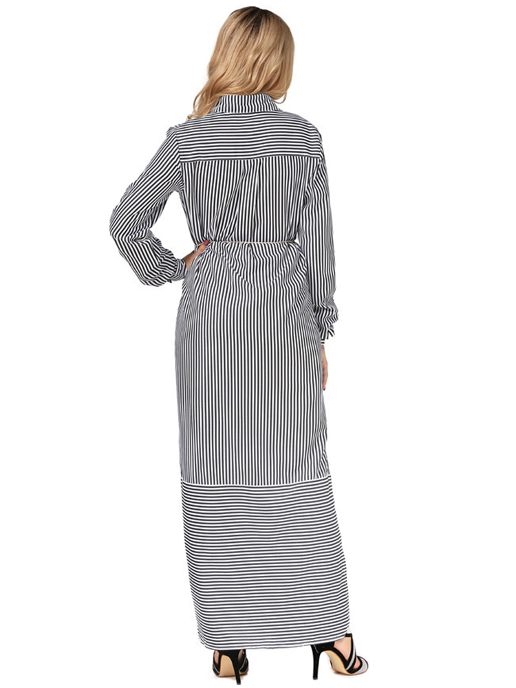 Casual Women Long Sleeve Stripe Buttons Maxi Shirt Dresses