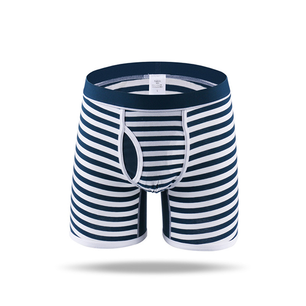 Mens Fashion Stripe Sports Anti-friction Riding Boxers Cotton Underwear