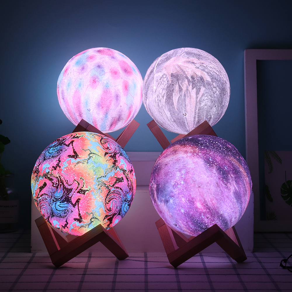 3D Printing Moon Lamp Christmas Decorations Space LED Night Light Remote Control USB Rechargeable Gift