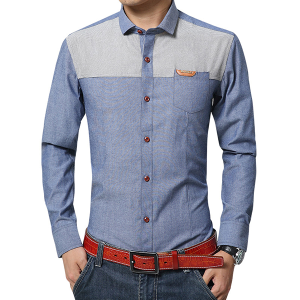 Mens Patchwork Cotton Linen Pocket Elegant Non-iron Shirt