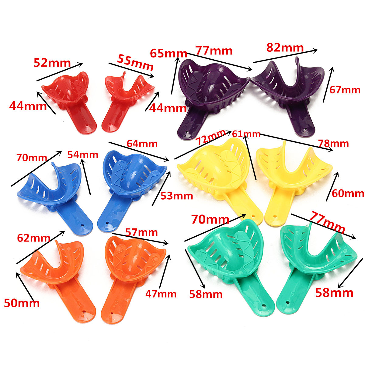 12Pcs Dental Tools Impression Tray Durable And Portable