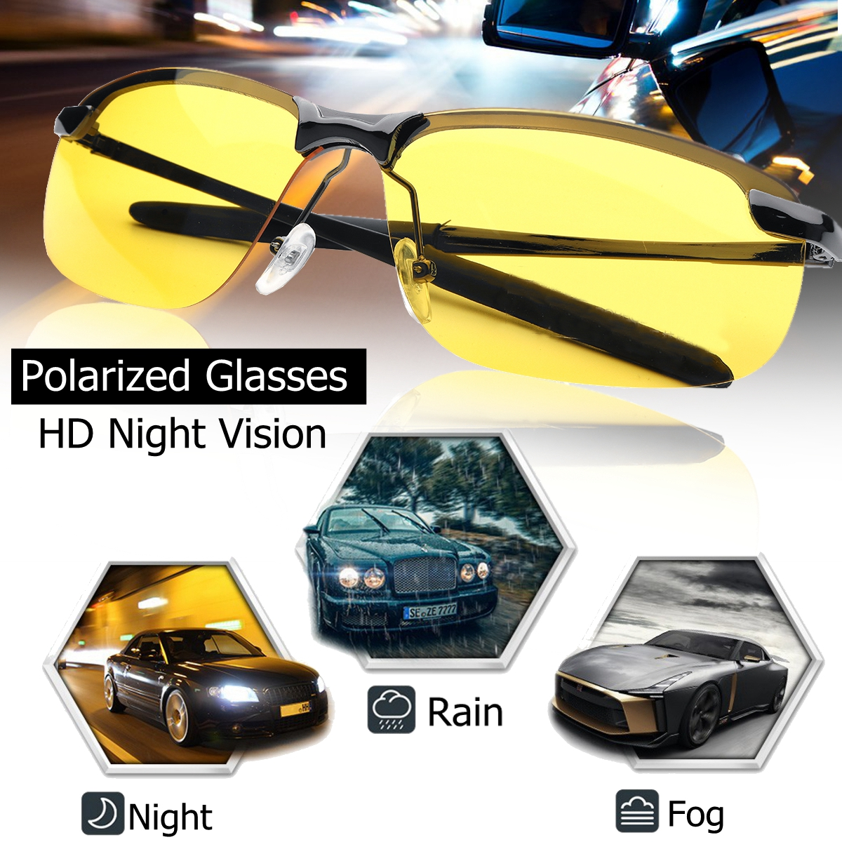 UV400 Polarized Driving Sunglasses Day Night Vision Glasses