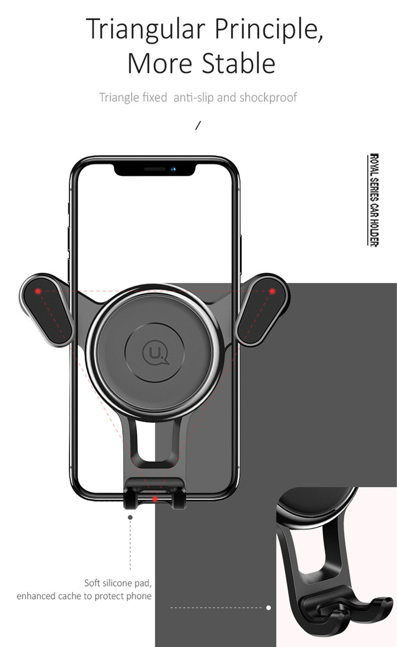 USAMS Spring Clip Multi-angle Rotation Car Mount Air Vent Holder for Samsung Xiaomi Mobile Phone