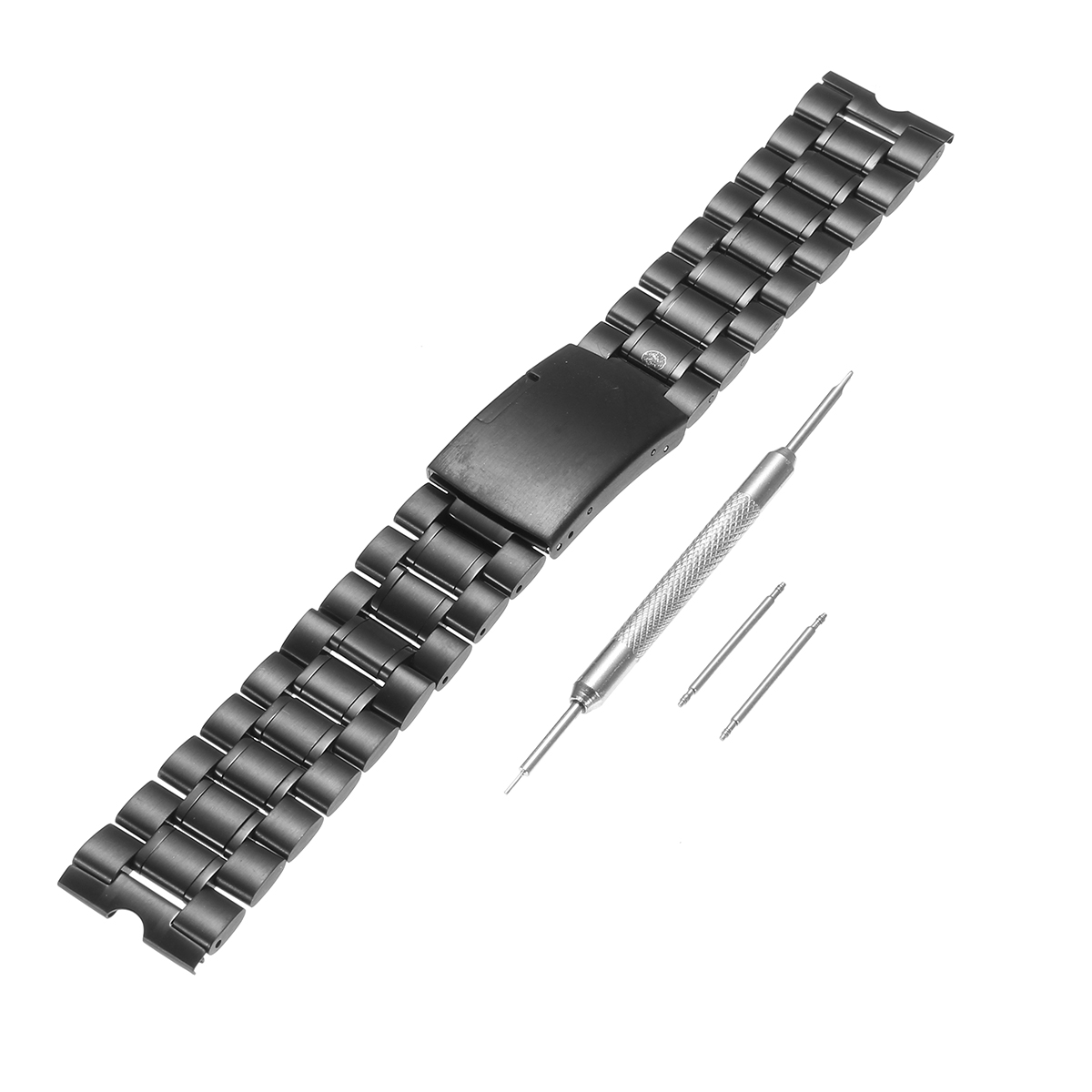 22mm Black Stainless Steel Metal Watch Band Strap for Moto 360 1st Watch+ Tools