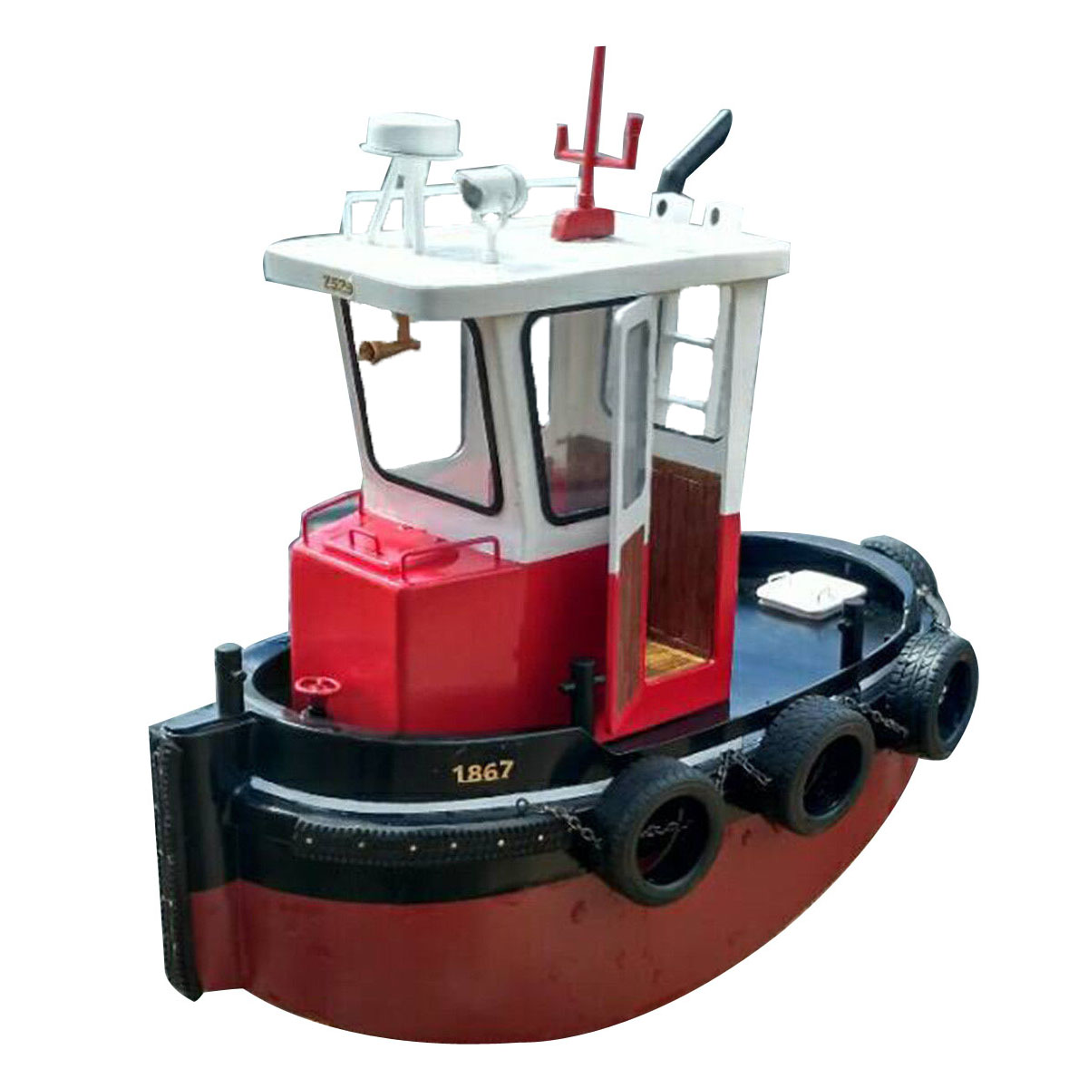 1:18 Mini DIY Tugboat Rescue Simulation RC Boat Model Parts Wooden Ship Boat Lighting Gift