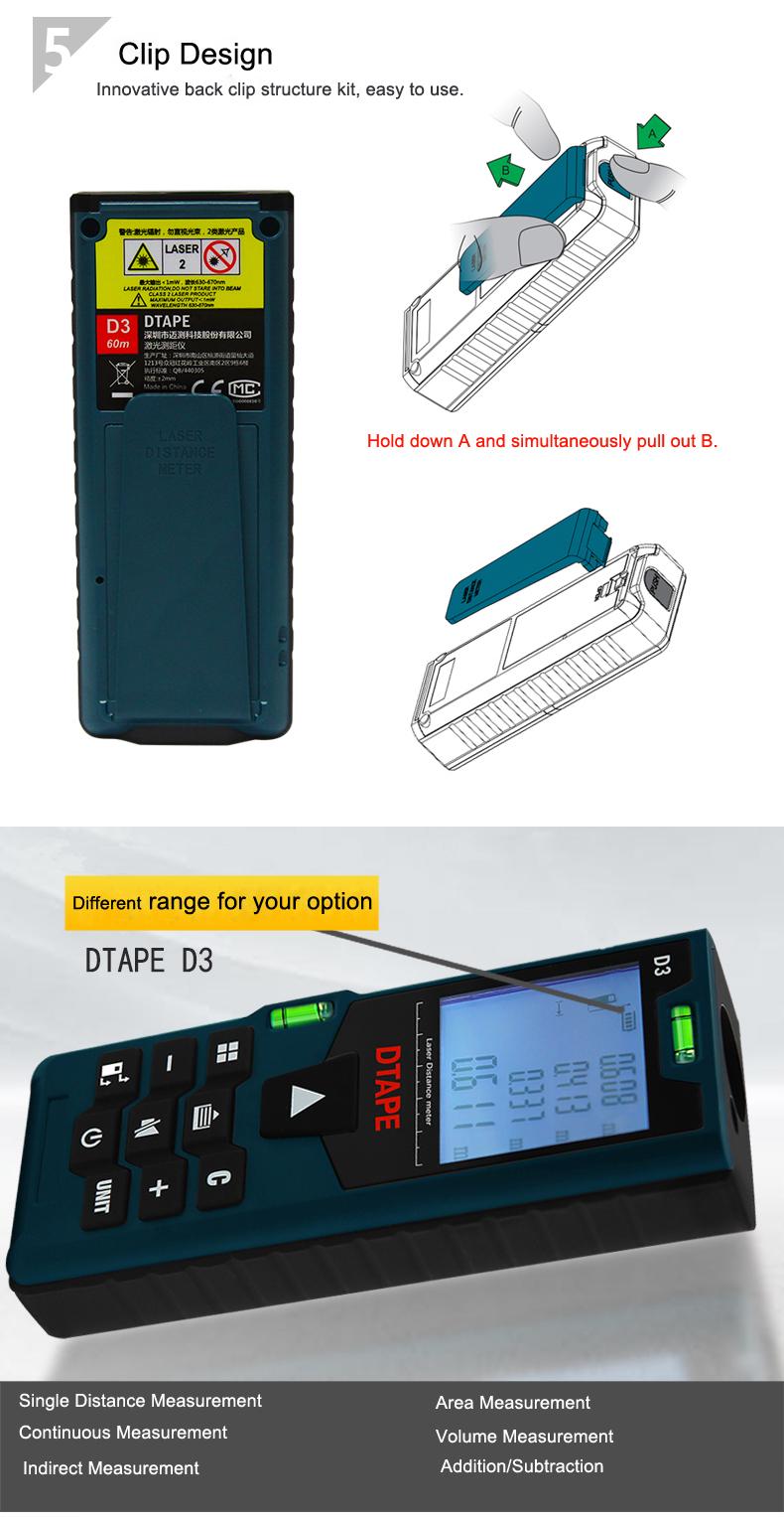2pcs DTAPE D3 Digital Laser 60m+80m Rangefinder Distance Meter Big Clearance