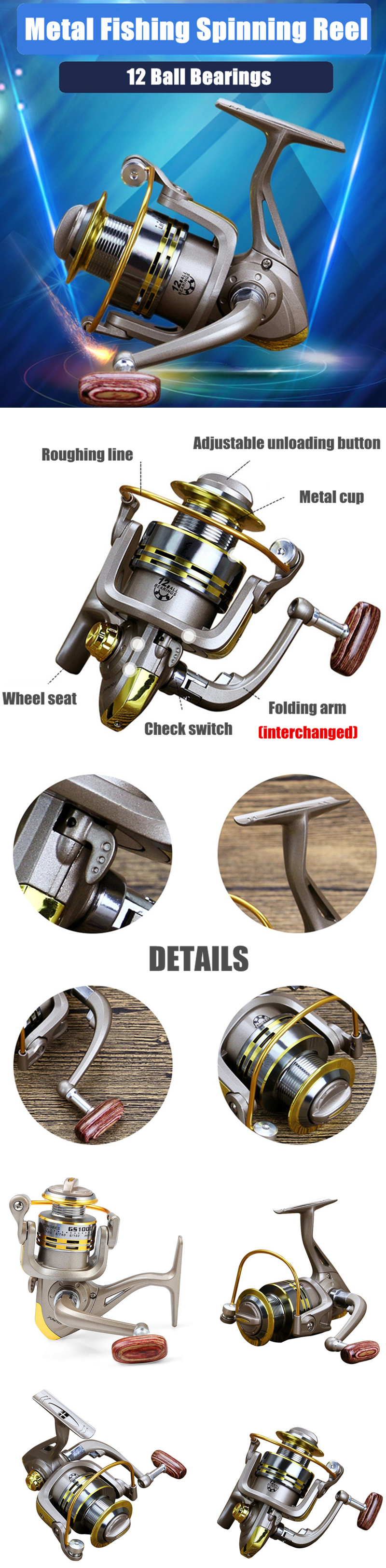 12 Ball Bearing Metal Spool Fishing Reel 5.5:1 Folding Fishing Wheel