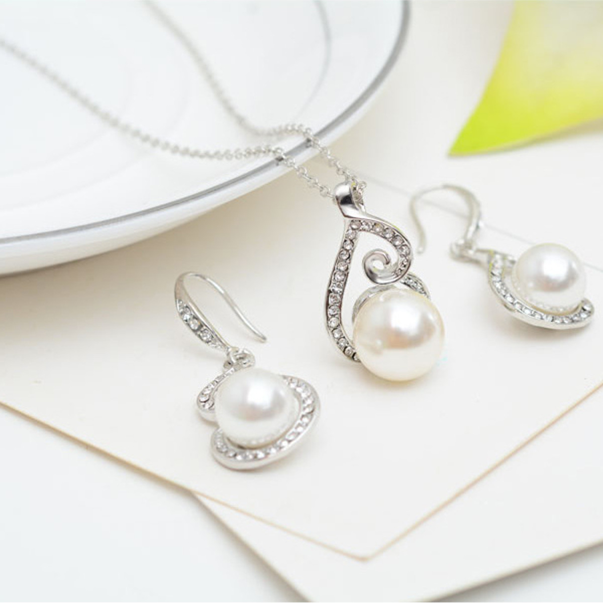 Pearl Rhinestone Wedding Bridal Necklace Earrings Women Jewelry Set