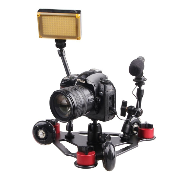 Desktop Camera Rail Car Table Dolly Mini 3 Black Wheel Video Slider Track for DSLR Camcorder