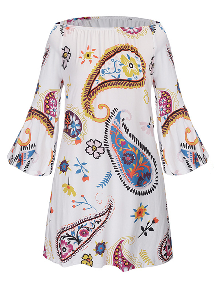 Women Sexy Off Shoulder Bell-Sleeve Printed Mini Dresses