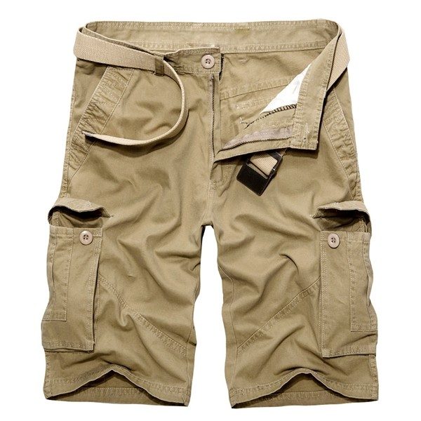 Men Casual Cotton Solid Big Pockets Plus Size Loose Cargo Military Shorts