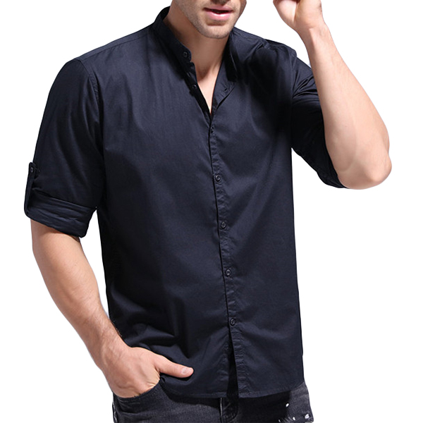 Mens Cotton Pure Color Long Sleeve Stand Band Collar Shirts