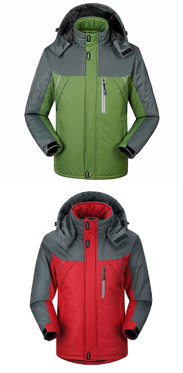 Mens Outdoor Waterproof Thick Fleece Winter Jacket Stand Mountaineering Ski Contrast Color Coat