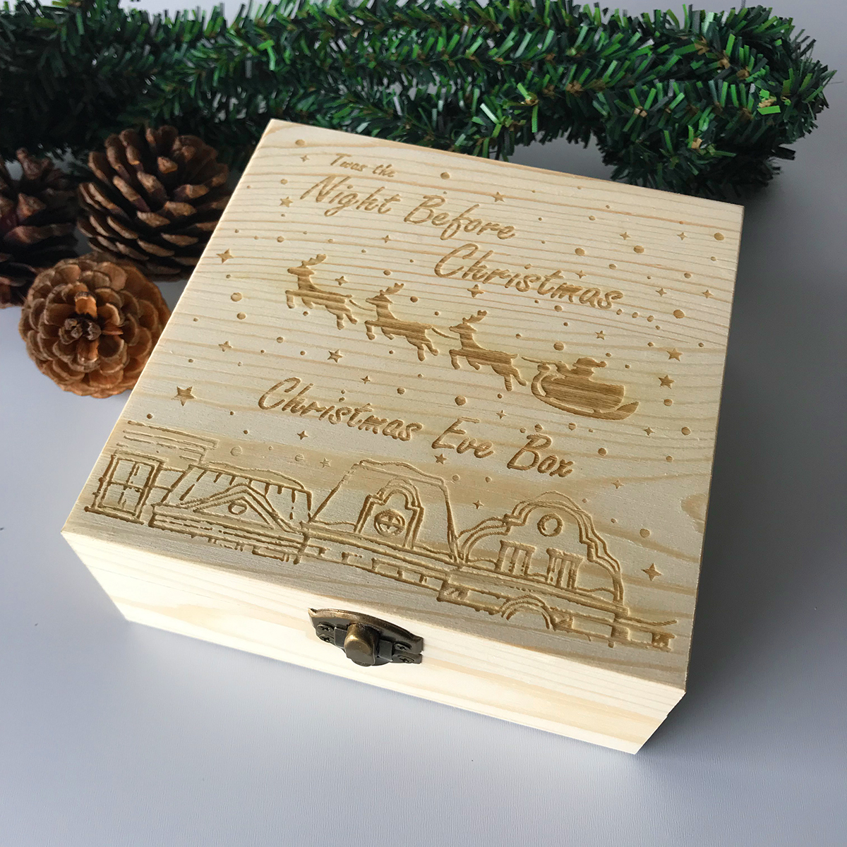 Christmas Eve Box Engraved Wooden Decorations Wood Gift Xmas Childrens Wooden Christmas Eve Box Christmas Snowmobiles