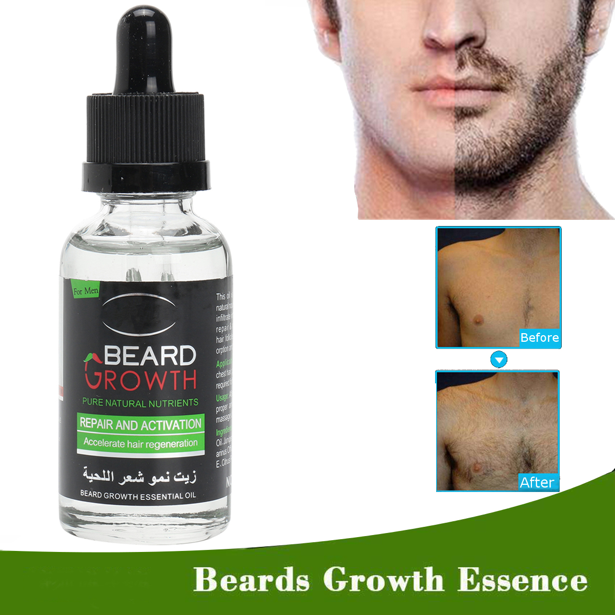 Natural Organic Beard Oil Balsam Wax Hair Loss Conditioner For Beard Styles Growth 40ml